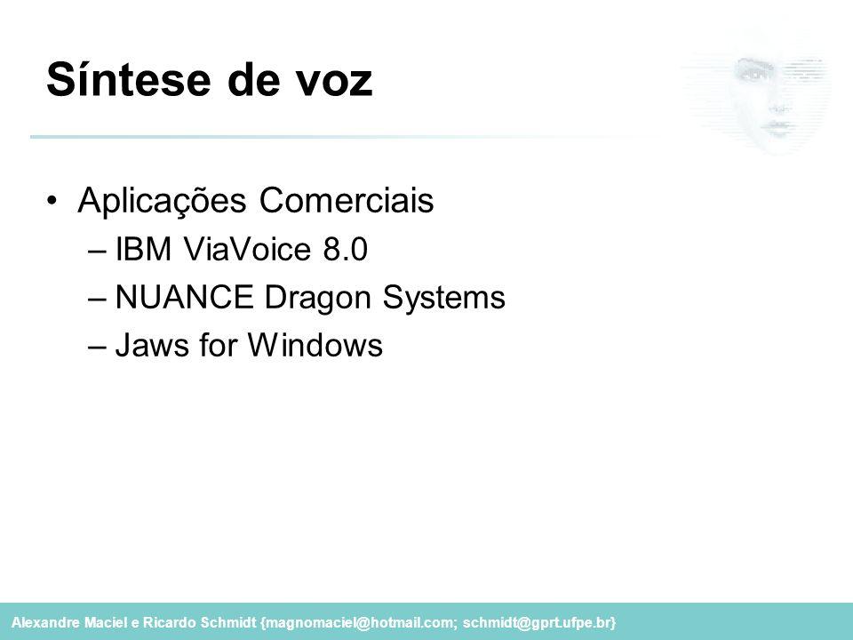 Síntese de voz Aplicações Comerciais IBM ViaVoice 8.0