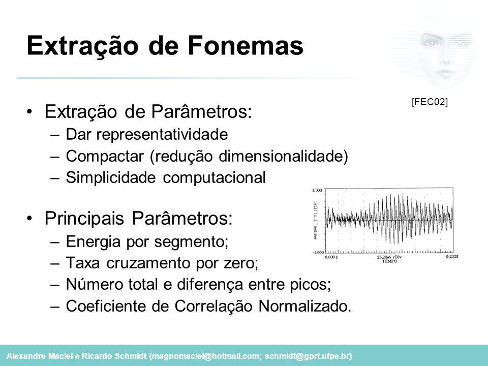 Extração de Fonemas Extração de Parâmetros: Principais Parâmetros: