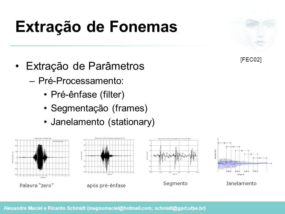 Extração de Fonemas Extração de Parâmetros Pré-Processamento: