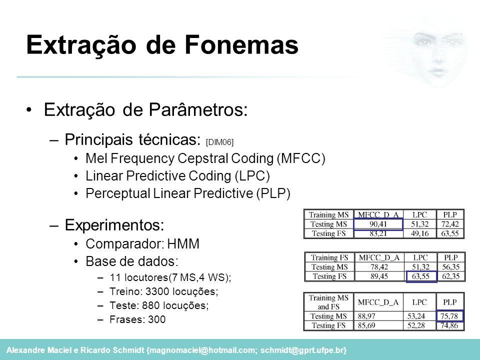 Extração de Fonemas Extração de Parâmetros: