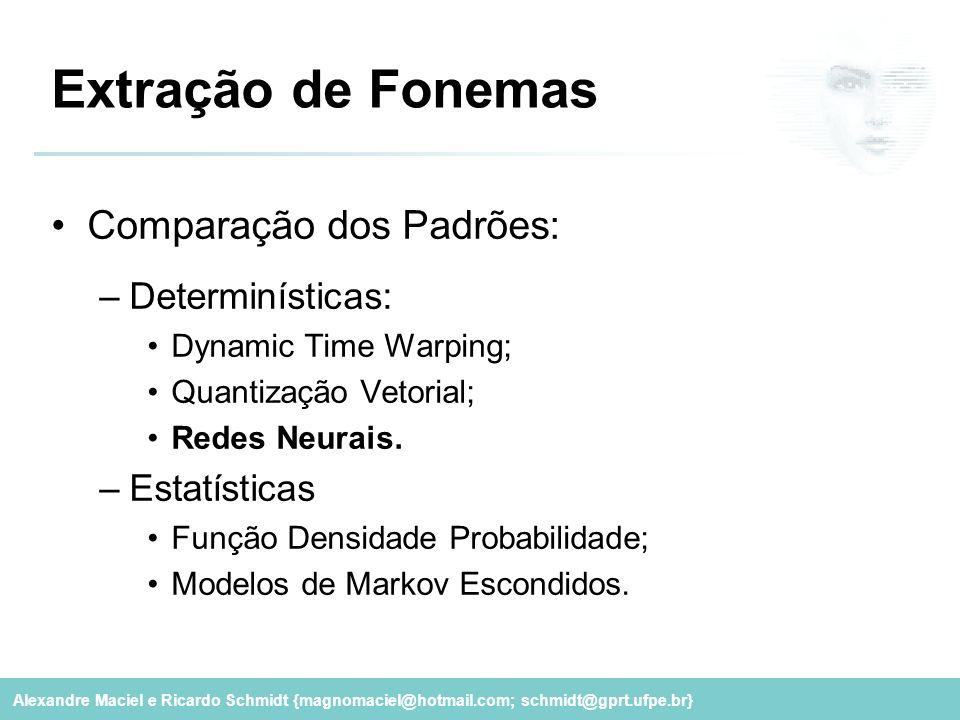 Extração de Fonemas Comparação dos Padrões: Determinísticas: