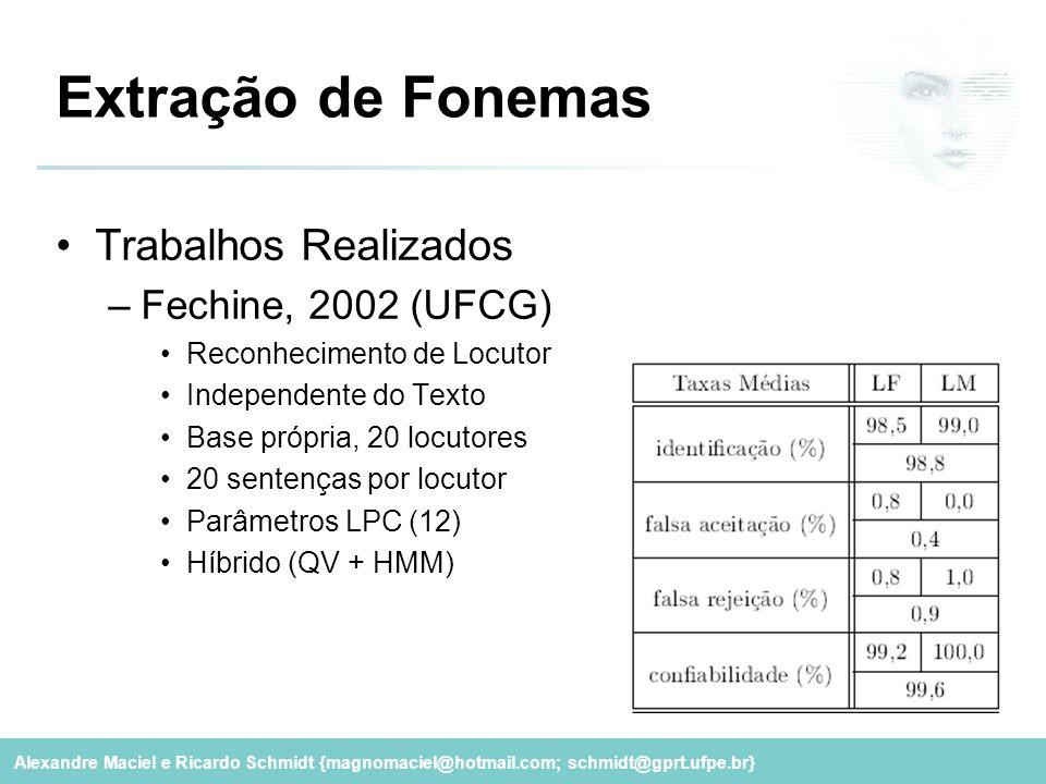 Extração de Fonemas Trabalhos Realizados Fechine, 2002 (UFCG)