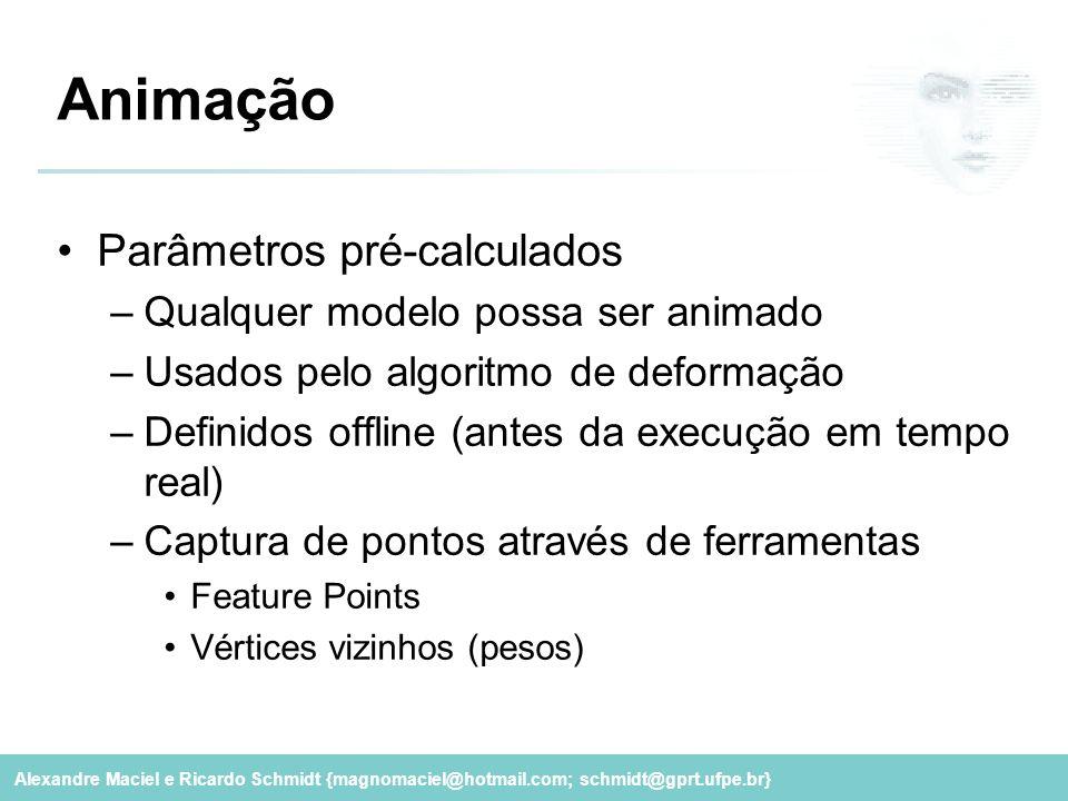 Animação Parâmetros pré-calculados Qualquer modelo possa ser animado