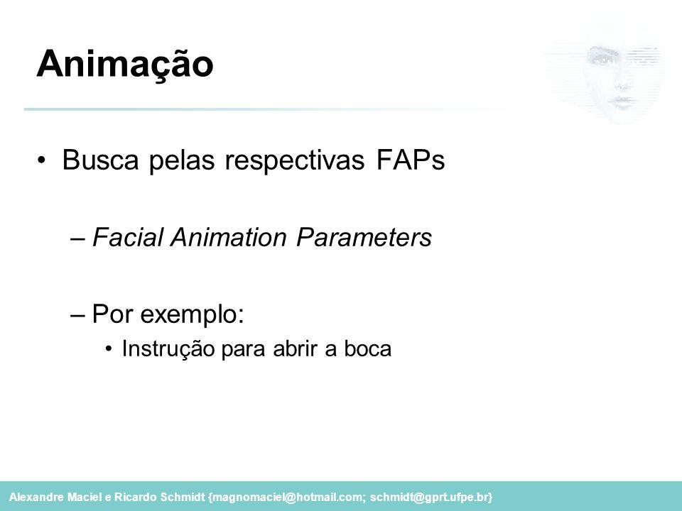Animação Busca pelas respectivas FAPs Facial Animation Parameters