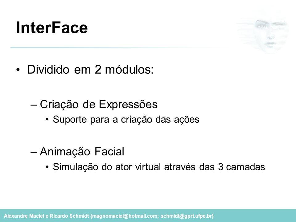 InterFace Dividido em 2 módulos: Criação de Expressões Animação Facial
