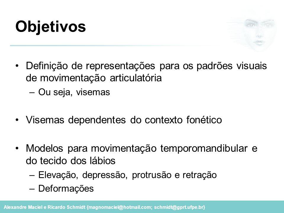 Objetivos Definição de representações para os padrões visuais de movimentação articulatória. Ou seja, visemas.