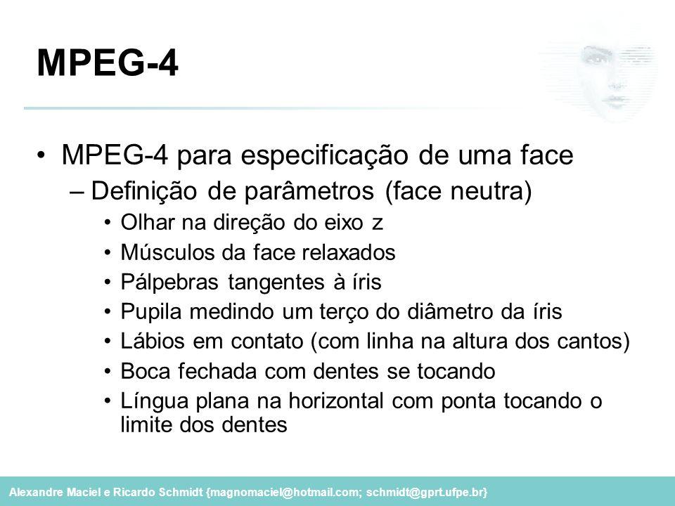 MPEG-4 MPEG-4 para especificação de uma face