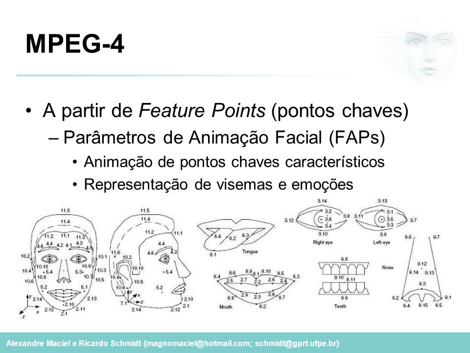 MPEG-4 A partir de Feature Points (pontos chaves)
