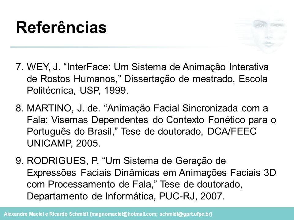 Referências WEY, J. InterFace: Um Sistema de Animação Interativa de Rostos Humanos, Dissertação de mestrado, Escola Politécnica, USP, 1999.