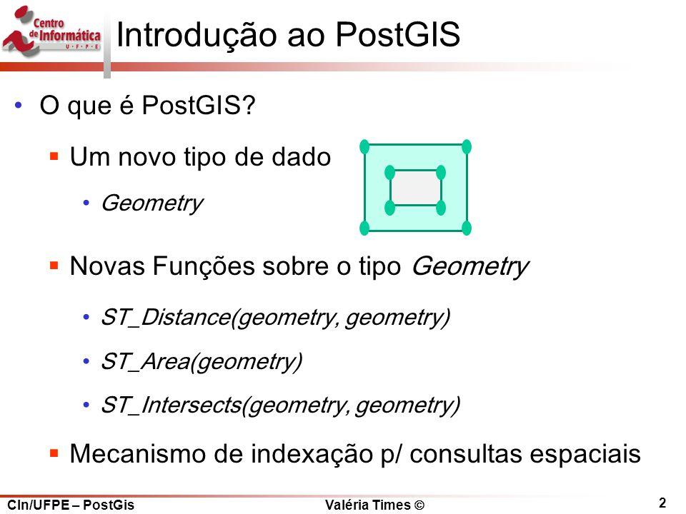 Introdução ao PostGIS O que é PostGIS Um novo tipo de dado