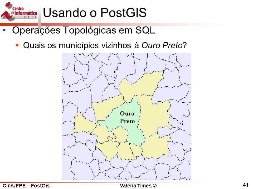 Usando o PostGIS Operações Topológicas em SQL