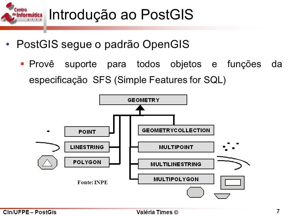 Introdução ao PostGIS PostGIS segue o padrão OpenGIS