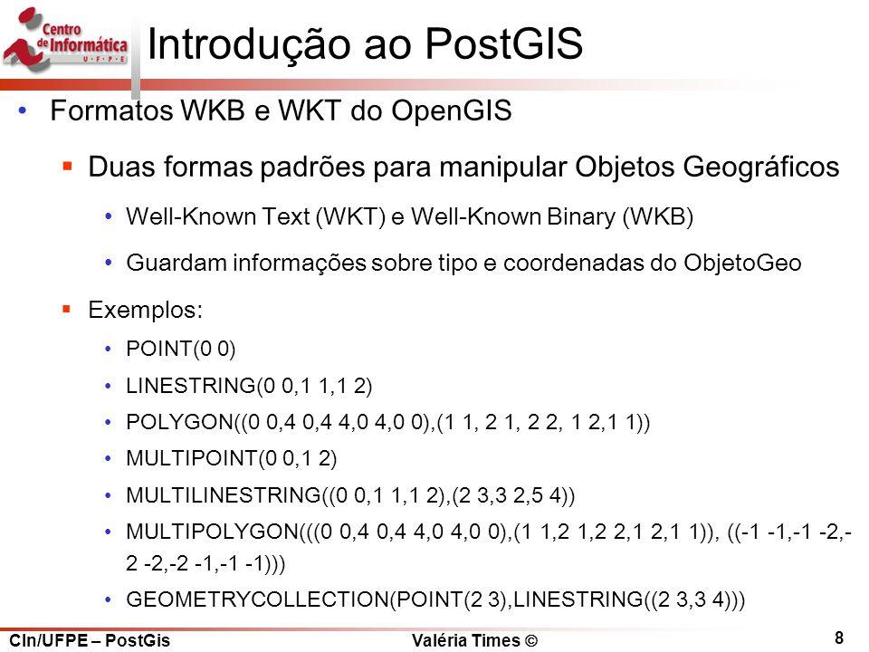 Introdução ao PostGIS Formatos WKB e WKT do OpenGIS