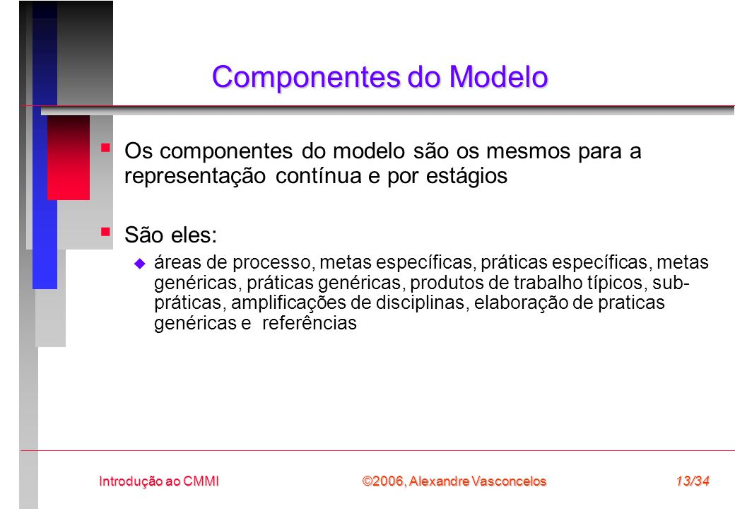 Componentes do Modelo Os componentes do modelo são os mesmos para a representação contínua e por estágios.