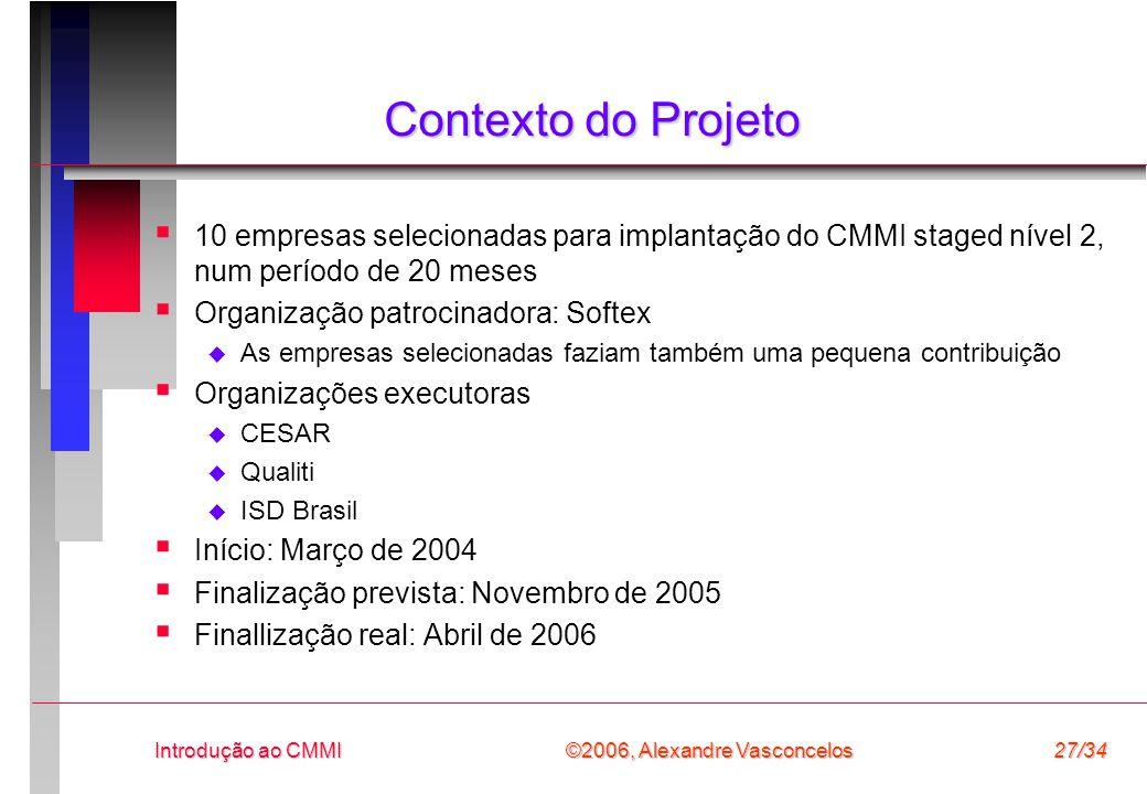 Contexto do Projeto 10 empresas selecionadas para implantação do CMMI staged nível 2, num período de 20 meses.