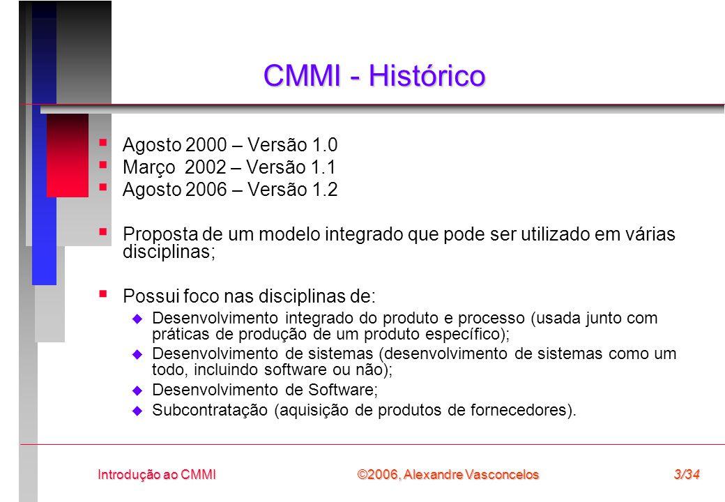 CMMI - Histórico Agosto 2000 – Versão 1.0 Março 2002 – Versão 1.1