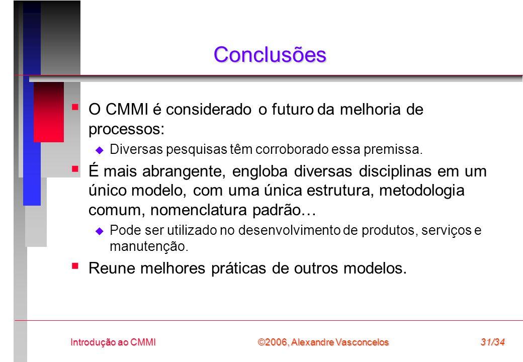 Conclusões O CMMI é considerado o futuro da melhoria de processos: