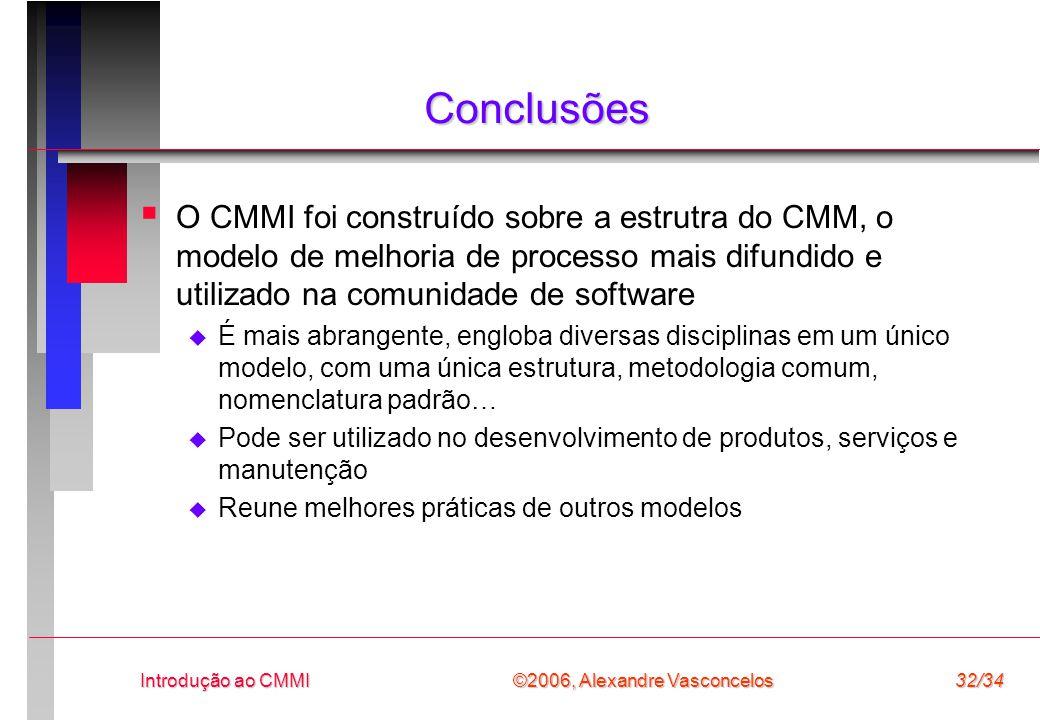 Conclusões O CMMI foi construído sobre a estrutra do CMM, o modelo de melhoria de processo mais difundido e utilizado na comunidade de software.