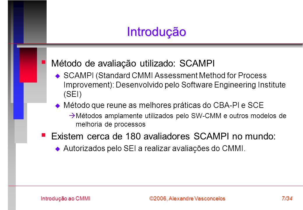 Introdução Método de avaliação utilizado: SCAMPI