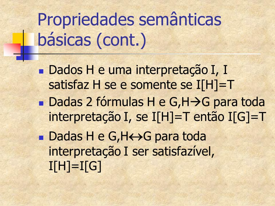 Propriedades semânticas básicas (cont.)