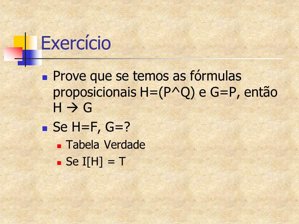 Exercício Prove que se temos as fórmulas proposicionais H=(P^Q) e G=P, então H  G. Se H=F, G= Tabela Verdade.