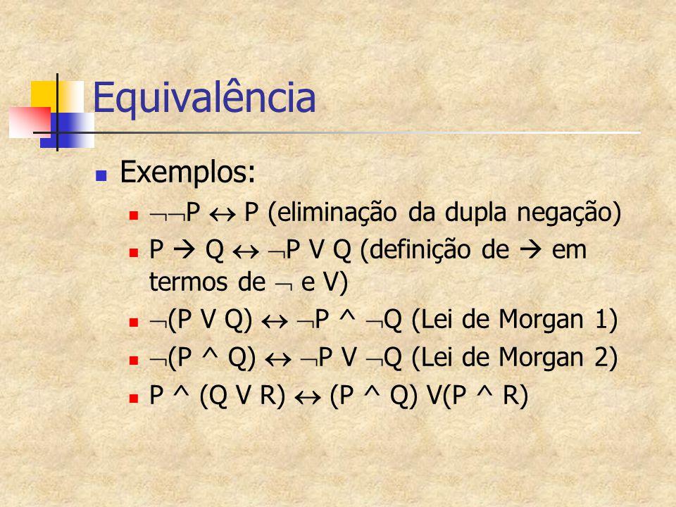 Equivalência Exemplos: P  P (eliminação da dupla negação)