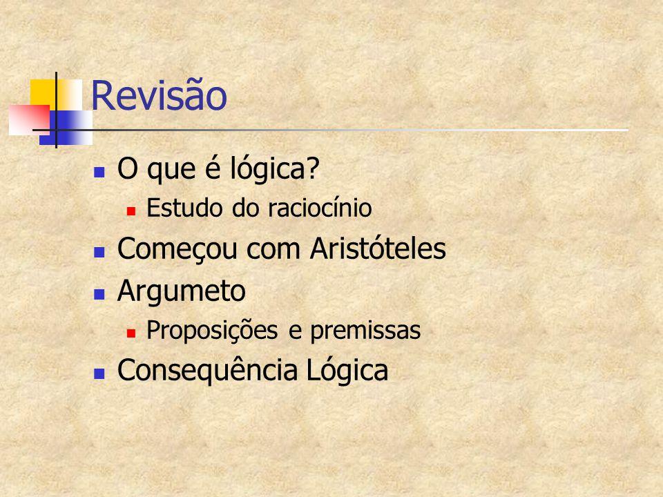Revisão O que é lógica Começou com Aristóteles Argumeto