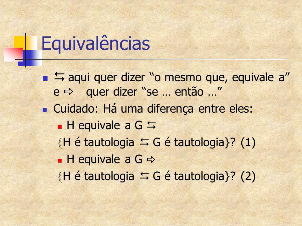 Equivalências D aqui quer dizer o mesmo que, equivale a e a quer dizer se … então … Cuidado: Há uma diferença entre eles:
