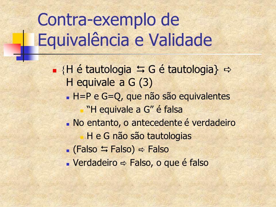 Contra-exemplo de Equivalência e Validade