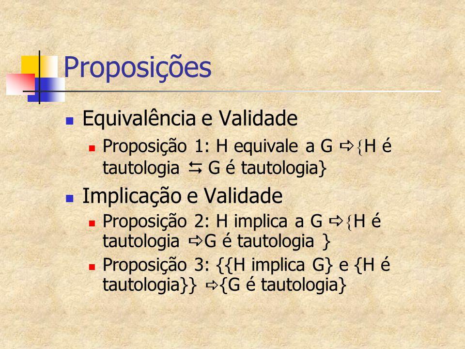 Proposições Equivalência e Validade Implicação e Validade