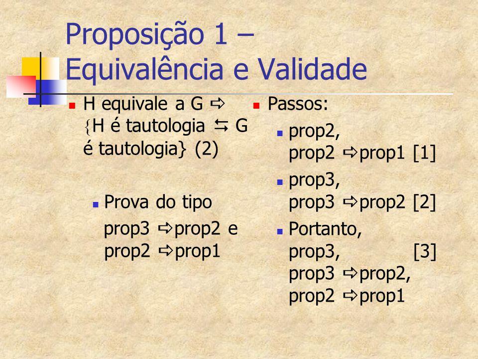 Proposição 1 – Equivalência e Validade