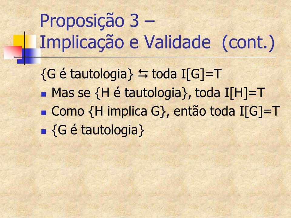 Proposição 3 – Implicação e Validade (cont.)