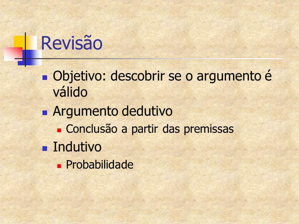 Revisão Objetivo: descobrir se o argumento é válido Argumento dedutivo