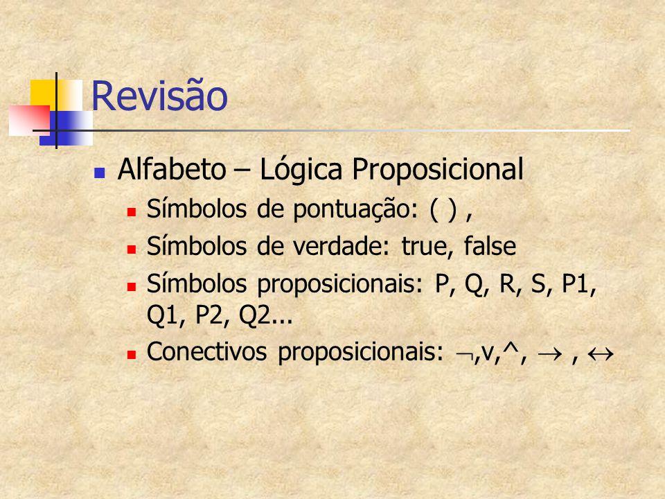 Revisão Alfabeto – Lógica Proposicional Símbolos de pontuação: ( ) ,