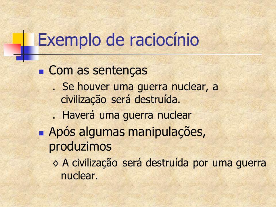 Exemplo de raciocínio Com as sentenças