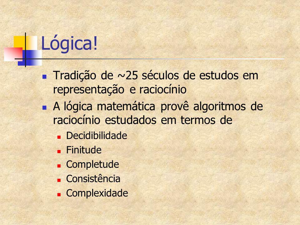 Lógica! Tradição de ~25 séculos de estudos em representação e raciocínio. A lógica matemática provê algoritmos de raciocínio estudados em termos de.