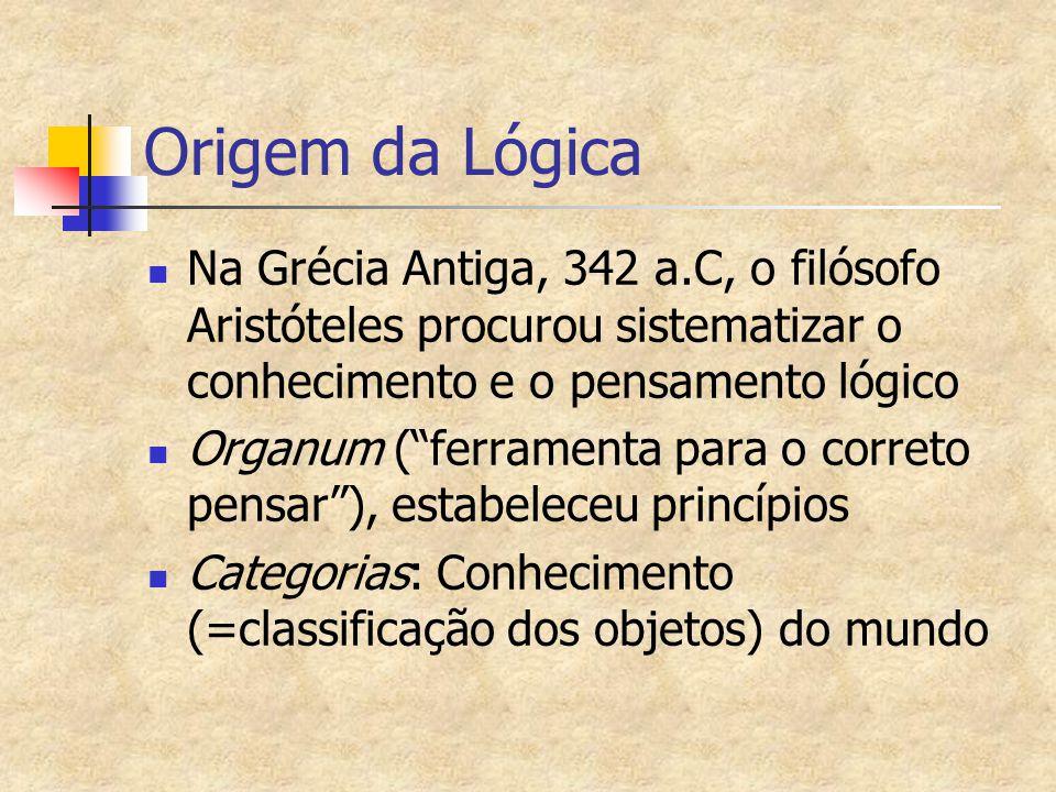 Origem da Lógica Na Grécia Antiga, 342 a.C, o filósofo Aristóteles procurou sistematizar o conhecimento e o pensamento lógico.
