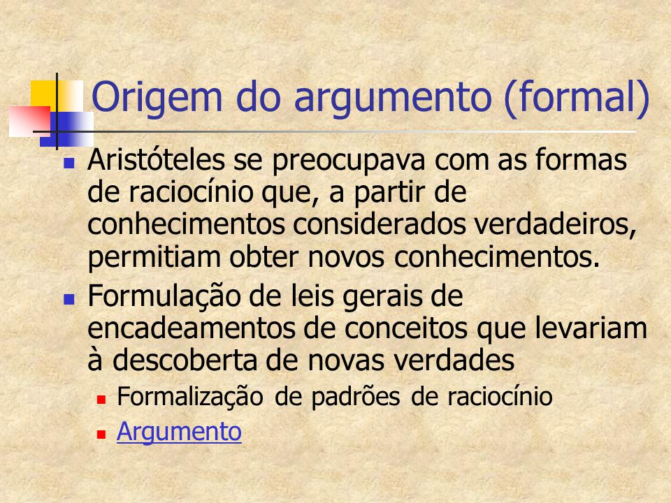 Origem do argumento (formal)