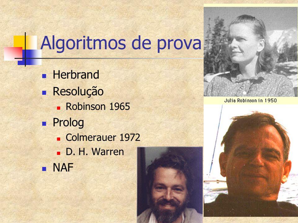 Algoritmos de prova Herbrand Resolução Prolog NAF Robinson 1965