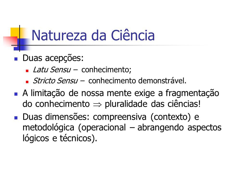 Natureza da Ciência Duas acepções:
