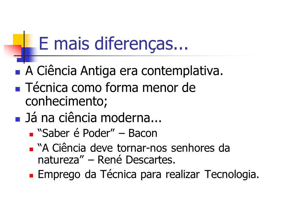 E mais diferenças... A Ciência Antiga era contemplativa.