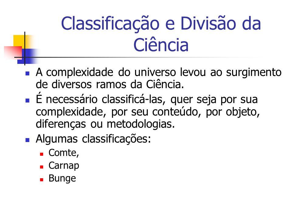 Classificação e Divisão da Ciência