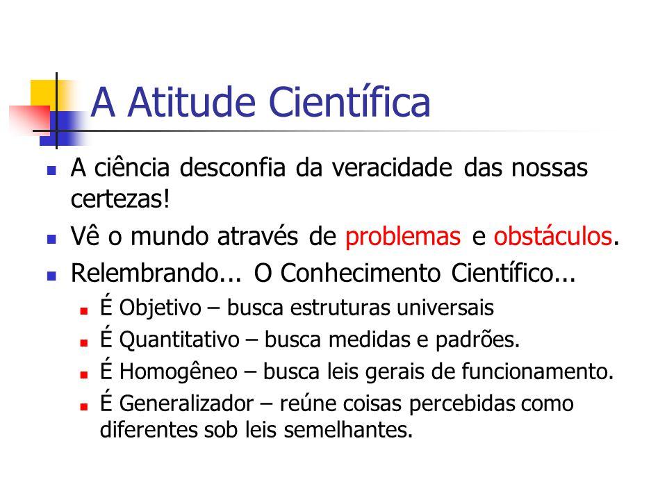 A Atitude Científica A ciência desconfia da veracidade das nossas certezas! Vê o mundo através de problemas e obstáculos.