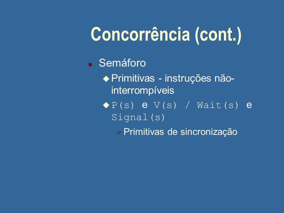 Concorrência (cont.) Semáforo