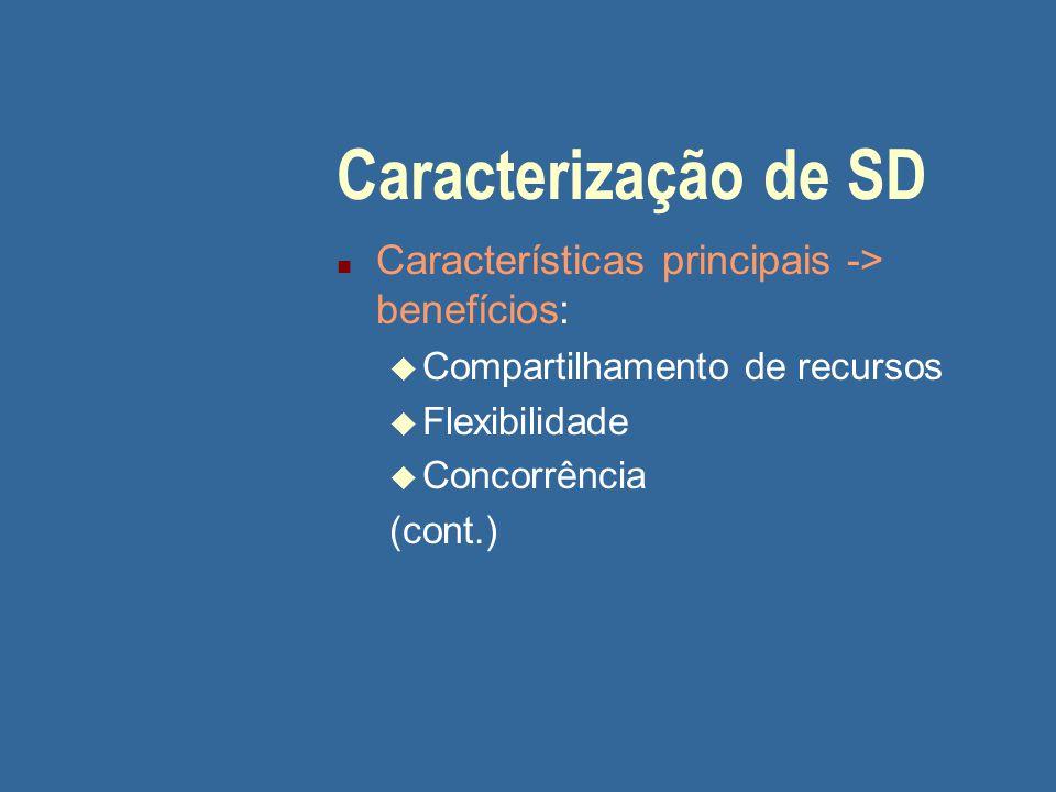Caracterização de SD Características principais -> benefícios: