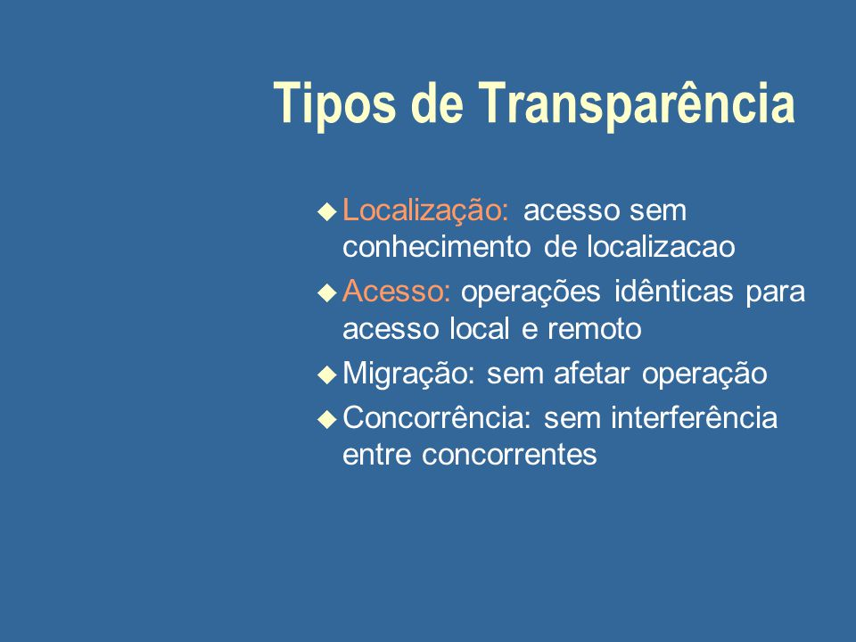 Tipos de Transparência