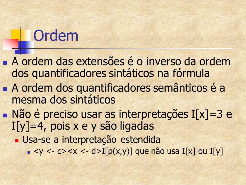 Ordem A ordem das extensões é o inverso da ordem dos quantificadores sintáticos na fórmula.