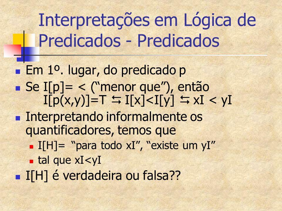Interpretações em Lógica de Predicados - Predicados