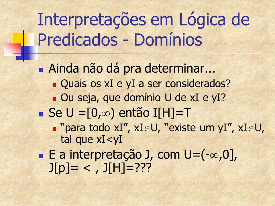 Interpretações em Lógica de Predicados - Domínios