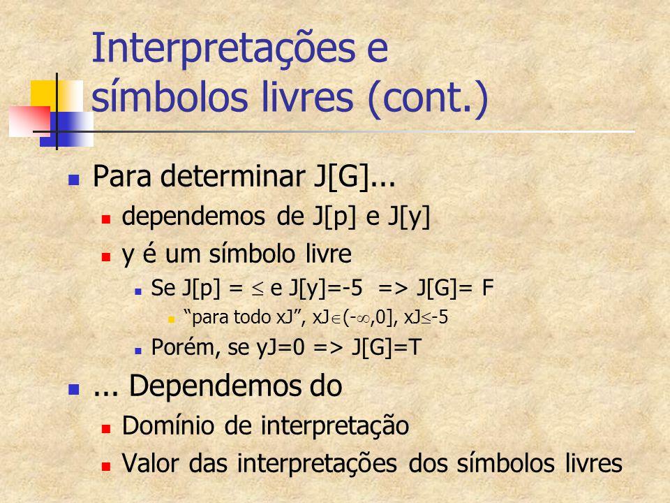 Interpretações e símbolos livres (cont.)